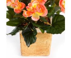 Bégonia artificiel 74 feuilles, 16 fleurs, saumon, 40 cm, Ø 30 cm - fleur artificielle / plante synthétique - artplants