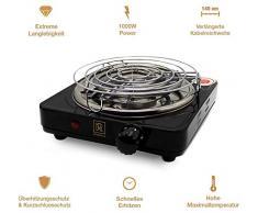 Allume Charbon Electrique Chicha BLACK HEAT (1000W | plaque chauffante shisha charbon naturel | noir) + pinces + grille + câble 140 cm (Noir)