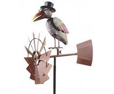 WindRad ArtFerro Girouette, corbeau, métal, 50 x 30 x 151, detailreich, peint à la main