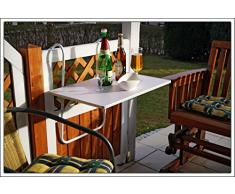 Pliante Table de balcon – Résistant aux intempéries – en blanc