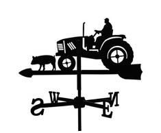 Girouette Fermier sur son Tracteur en fer forgé petit modèle