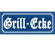 BlechschilderWelt Plaque en tôle avec Inscription en Allemand « Nostalgie Grill » – Coin, Grille, Repas Plaque métallique décorative