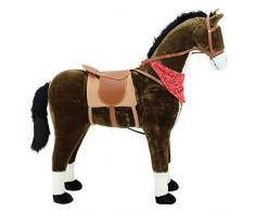 Sweety Toys 5048 Peluche cheval géante avec tapis et selle - Supporte jusqu'à 100 kg - Couleur chocolat avec crinière et queue foncées - Hauteur jusqu'à la tête env. 110 cm