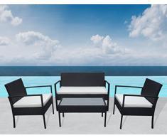 """Greece """"outdoor"""" ensemble lounge """"noir de jardin 7 pièces en polyrotin"""