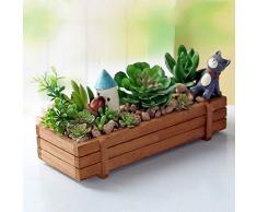 3 pièces vase pour fleurs en forme de cassette de bois, Rectangle Plante succulente Boîte à fleurs jardinière, jardinière de jardin Jardinière pot de plantes grasses carré potager surélevé