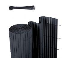 Sekey Canisse en PVC Brise Vue pour Jardin, Balcon et Terrasse, Résistant, Résistant aux intempéries, Intimité, avec Surface Texturée, avec Serre-Câbles, 80 x 500 cm, Anthracite
