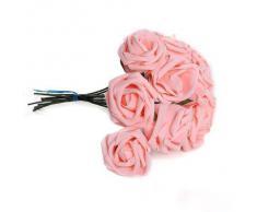 SODIAL(R) Plante artificielle Bouquet de fleurs rose Rose mousse Decoration PE Mariage Mariee