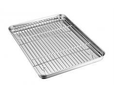 Ensemble de plaque à four et grille TeamFar en acier inoxydable, plat de cuisson avec grille de refroidissement, sain et non toxique, poli miroir et facile à nettoyer, passe au lave-vaisselle
