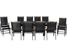 bfe3022afae612 IB-Style - Salon de jardin de première classe Diplomat-XL   11-pieces    noir - noir - teck   grande table rallonge 135-270 cm   Ensemble Terrasse  Meubles de ...