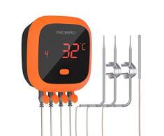 Inkbird IBT-4XC Bluetooth Thermomètre Cuisine Étanche,Thermometre Barbecue sans Fil avec 4 sonde,Thermometre Cuisson Viande Rechargeable,Magnétique pour Barbecue Electrique,Mini Four,Fumoir,Poisson