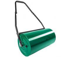 TecTake Rouleau à gazon jardin en métal avec poignée | largeur 60cm | Ø du rouleau : 33 cm | volume de remplissage : env. 50 L