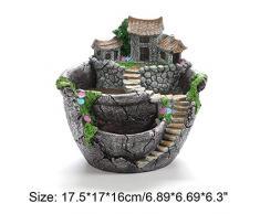 HONIC Résine Flowerpot Groot Pot de Fleurs Plantes Succulent Planteur Bureau Porte-Jardin en Pot Décoration Bonsai Pots: A 175x170mm