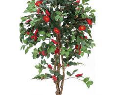 Arbuste artificiel, camélia, 1630 feuilles, 110 fleurs rouges, 180 cm - plante verte artificielle / arbuste artificiel - artplants
