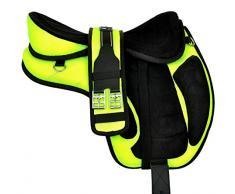 Wonder Wish Freemax Selle de cheval en microfibre sans arçon avec sangle assortie Disponible avec siège de 30,5 à 45,7 cm, Vert, 17 Inches Seat