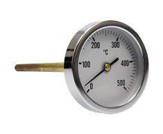 Thermomètre de four à bois barbecue avec sonde en acier 30 cm, température max 500 °C