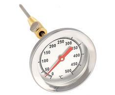 Lantelme 7819 Thermomètre en Acier Inoxydable 500 °C Sonde avec cône en Laiton pour Fixation au Barbecue ou au Four 15 cm