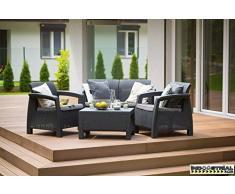 Ensemble Terrasse et jardin Corfu Lounge – luxomobel Antracita,Conjunto Ratan 2 Sillas + Sofa + Mesa,77 x 57 x 42 cm,75 x 70 x 79 cm,128 x 70 x 79 cm