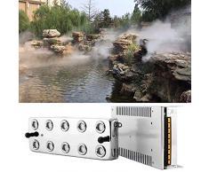 HUKOER 10 têtes Brumisateur ultrasonique de brumisateur, humidificateur de Brouillard 5L / H avec transformateur pour la Formation de Voile Conservation des Aliments Jardin/Etang etc