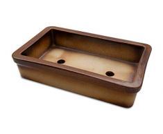 K&K Keramik Pot à bonsaï en céramique de grande qualité résistant au gel 29 x 18 x 7 cm Marron effet flammes