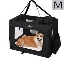 MC Star Sacs de Transport pour Chien Chat Portable Pliable Cage de Transport Animal Domestique M 60 x 42 x 42 cm,Noir