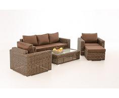 CLP Ensemble de jardin MADEIRA 3-1-1, set lounge, en polyrotin 5 mm, marron marbré + 5 revêtements différents au choix Rotin: marron marbré, revêtement: marron terre