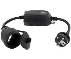 Fiche intermédiaire avec minuterie interrupteur crépusculaire IP44 - par exemple pour éclairage de bassin ou jardin