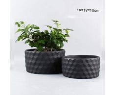 AGGIEYOU Pot de Fleurs en céramique-Ciment pour jardinière succulente Planter Cactus bonsaï Pots de Fleurs Pots de Fleurs Conteneur Nordique décoration Maison, Noir