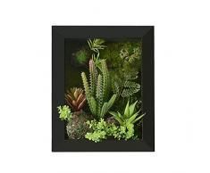 Support mural 3D Fleurs Artificielles Succulente plantes herbe vert Aloe feuilles mousse avec pierre imitation Cadre photo en bois Forme Vase décoration, 20 x 25 cm