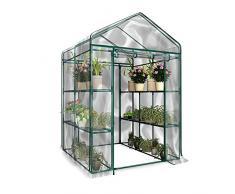 Class-Z Serre de Jardin Tente Abri Portable Garden Cover Serre à Tomate en PVC pour Intérieur Jardin Herbes Aromatiques Légume Fruit Balcon 143 x 73 x 195cm (Hors Cadre en Fer)
