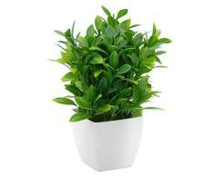 OFFIDIX Eucalyptus en Plastique de Plantes artificielles Mini avec Le Vase carré pour Le Bureau, Usine Faux de Plantes en Plastique à la Maison Fausse avec des Pots en Plastique pour la décoration