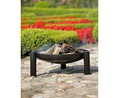 Brasero PALMA au charbon - noir sablé- Ø: 80cm 17kg H: 30cm l:90cm