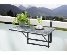 greemotion Table de balcon suspendue Toulouse 40 x 60 cm – Table de balcon rabattable gris métal – Petite table pliante murale à suspendre – Table 2 personnes à hauteur réglable