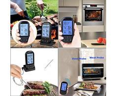 niceEshop(TM) Thermomètre de Barbecue sans Fil d'Affichage Numérique avec Double Sonde pour la Cuisson, la Cuisine et le Four (Noir)