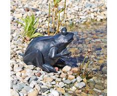 CLGarden 1832 Statuette de Jardin en Forme de Grenouille pour Bassin deau Noir/Anthracite