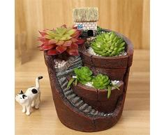 kati-way Pot de Fleur Design pour Plantes Grasses Succulentes Artificielle/Vrai Bonsai Ornements avec Mini Maison/Château/Villa, Décoration Maison Jardin Bureau, Idéal Cadeau (1pc:ABC)