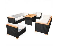 SSITG Salon de jardin sofa 32 pièces en polyrotin, WPC Ensemble de jardin lounge de jardin Noir