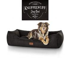 Knuffelwuff panier chien, lit pour chien, coussin, corbeille pour chien Liam, imprimé,noir XL 105 x 75cm