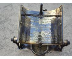 /équatoriale Cadran solaire Boussole antique Laiton massif