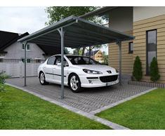 Palram Carport Verona Abri D'Auto Moderne et Élégant Au Toit Plat – Kit à Monter Soi-Même en Aluminium et Acier Galvanisé - Garanti 10 Ans