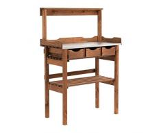 Table de Plantation pour Balcon terrasse de Jardin - 3 tiroirs - 3 Crochets - Bois - Surface de Travail métallique galvanisée - Brun - Environ 78 x 38 x 112 cm