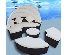 Anself Salon de Jardin 4PCS Rond Chaise Lounge Meubles en Rotin Avec Auvent Noir