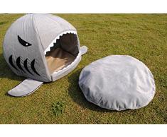 niceEshop(TM) Panier en Forme de Requin avec Matelas pour Chien et Chat (Gris, M)