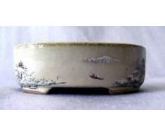Bonsai pot ovale avec peinture winterschale - 12 cm