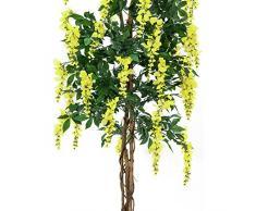 Arbuste artificiel, Glycine, 1370 feuilles, véritable tronc, 820 fleurs, jaune, 150 cm - plante grimpante artificielle / arbre artificiel fleuri - artplants