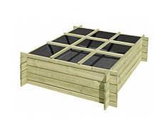 Jardinière - Carré potager divisé, en bois, avec système d'emboîtement 120 x 120 x 36 cm de Gartenpirat®