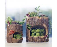 OULII Fleur Sedum Succulent Pot planteur Bonsai creux boîte lit bureau bureau maison jardin Pot déco, cadeau de Noël, Pack de 2 (mignon grenouille verte + hérisson)