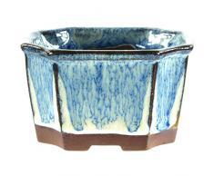 Pot à bonsaï 7.5x7.5x4cm azuré carrée en grès émaillé