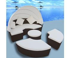 Anself Salon de Jardin Résine Tressée 4PCS Rond Chaise Lounge Meubles en Rotin Avec Auvent Brun