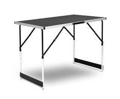 WOLTU® CPT8121sz Table de Camping Pliante Table de Jardin Table de Travail Table de Balcon réglable en Hauteur en Aluminium Acier MDF,Noir