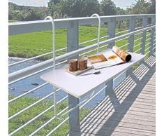 Dynamic24 Balcon Table Pliante Table Suspendue pour Balcon Pliable Table Suspendue pour Balcon Table de Jardin Table Blanc 60 x 40 cm